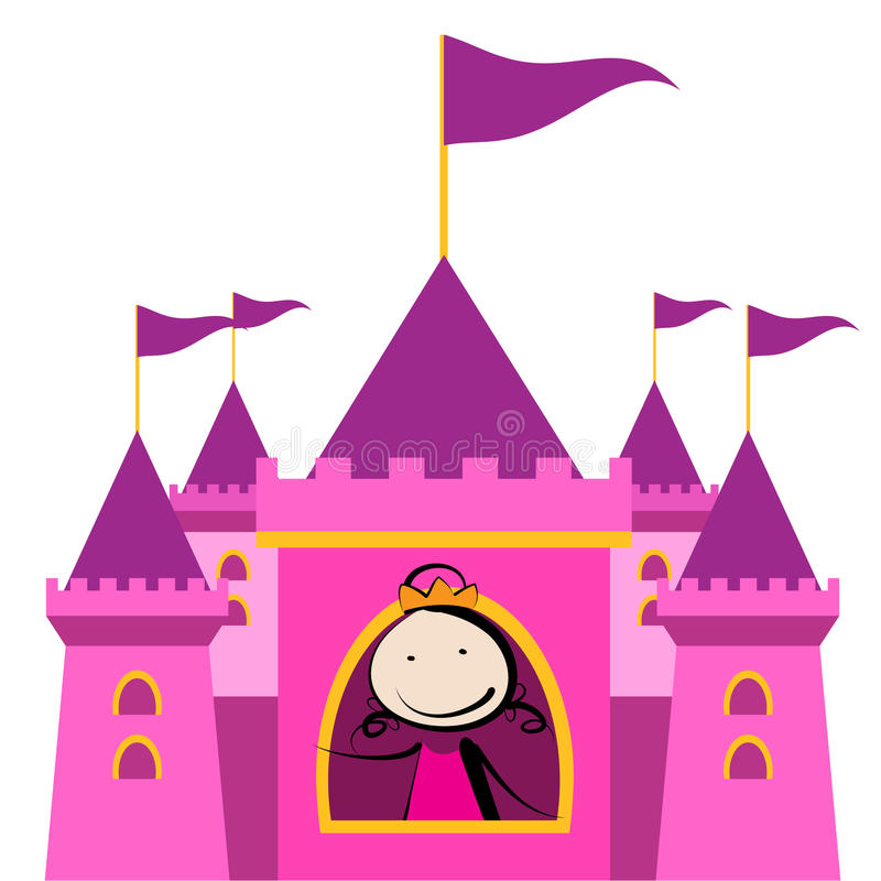 Princess in castle. Little princess playing in her castle vector illustration