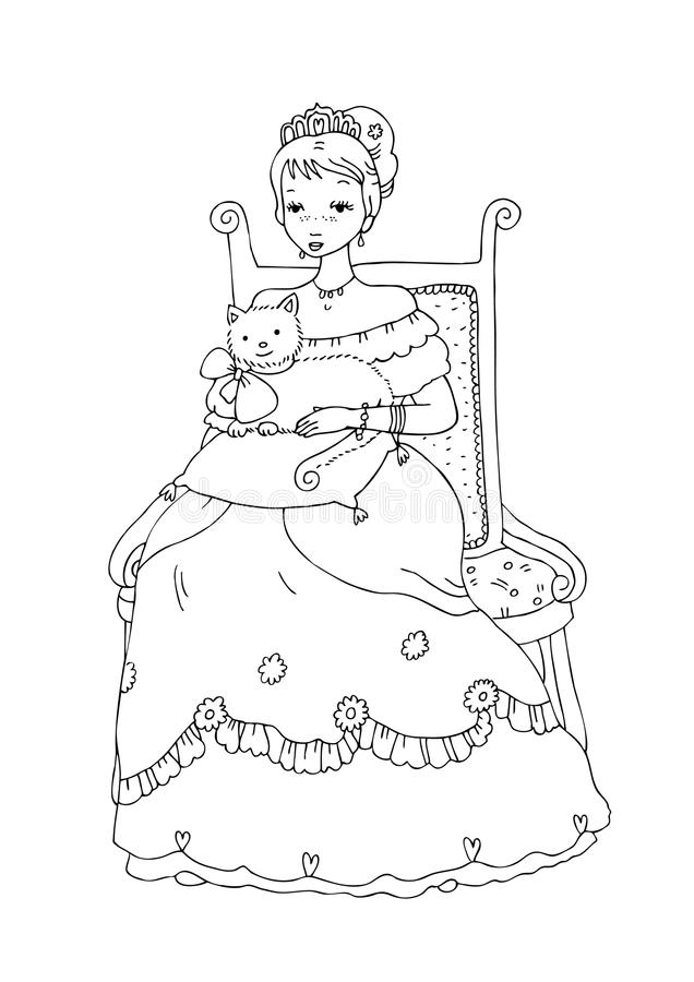 Download Princess With Cat Coloring Page Stock Illustration - Image: 9549023