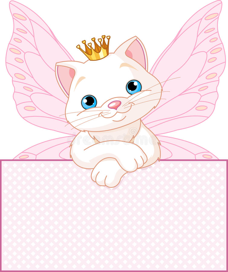 Download Princess Cat Over A Blank Sign Stock Vector - Illustration of holiday, tiara: 24126998