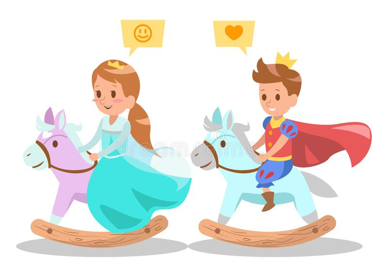 Princess character design 4little prince and princess riding on wooden rocking horse royalty free illustration