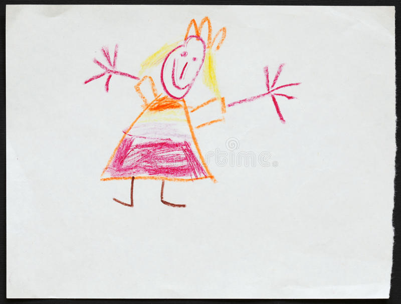 Princess. Child's Drawing. stock images