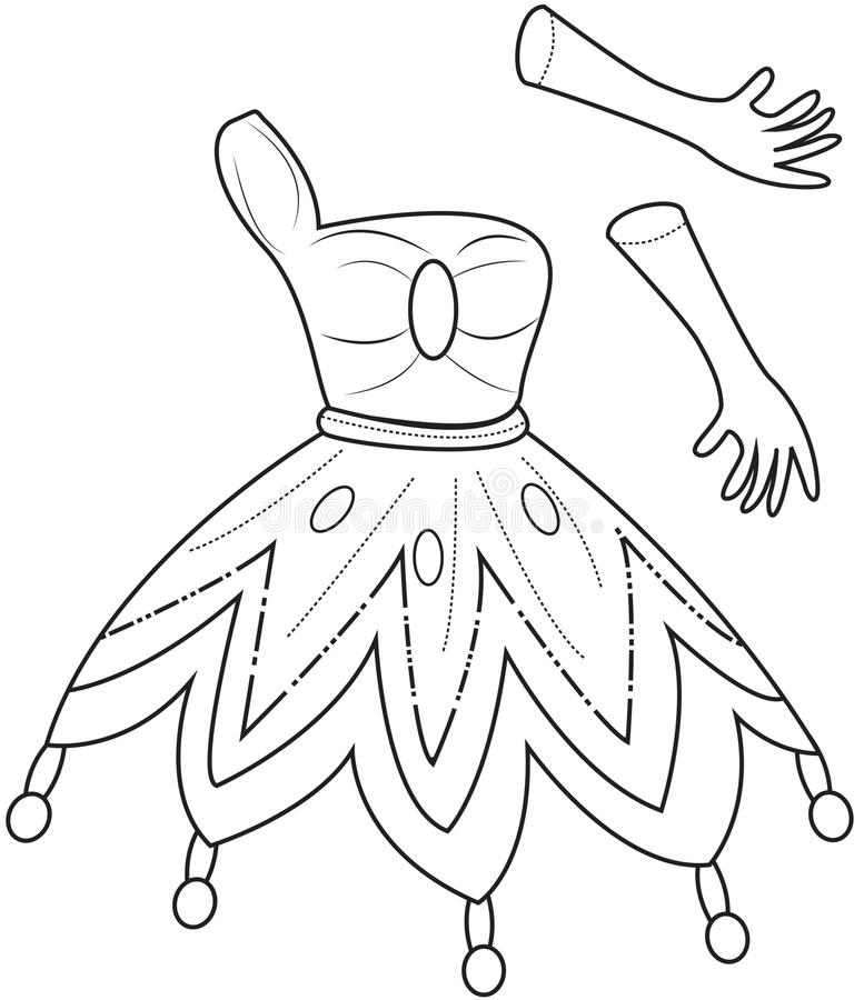 Download Princess Clothes Coloring Page Stock Illustration