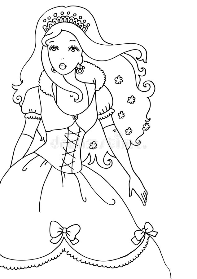 Princess Coloring Page Stock Illustration Illustration Of