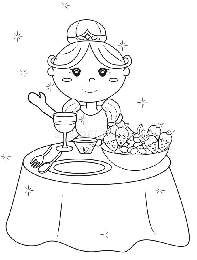 Download Princess Coloring Page Stock Illustration Of Child