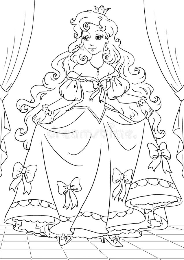 Princess stock illustration illustration of lovely for Beautiful dress coloring pages