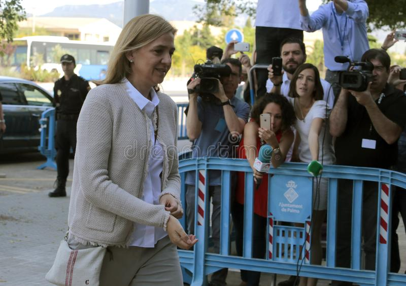 Princess Cristina daughter of king juan carlos arriving to court in mallorca. Spain princess Cristina arrive with her husband Inaki urdangarin to the court for a stock photography