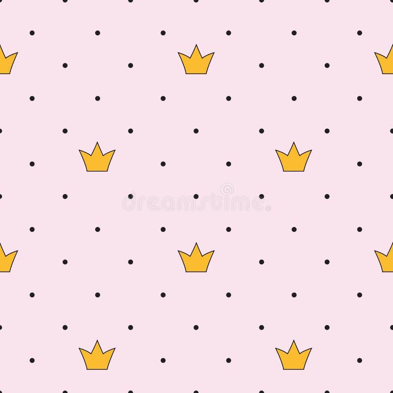 Princess Crown Seamless Pattern Background Vector Illustration stock illustration