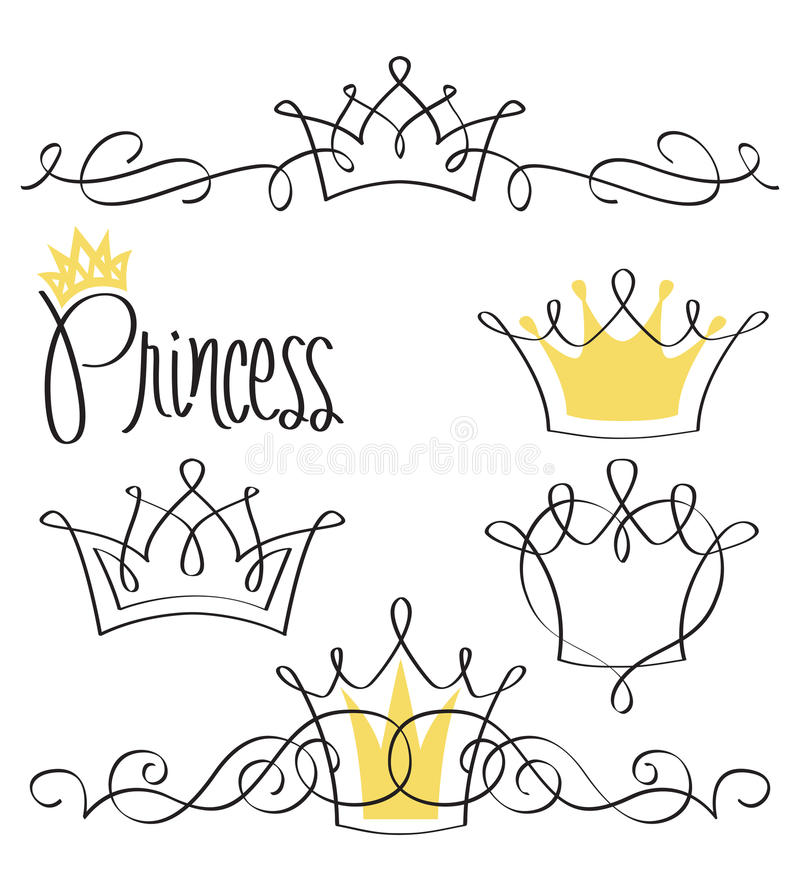 Princess Crown Set/eps. Elegant swash line drawings of crowns with the hand-lettered title Princess...like a modern coat of arms