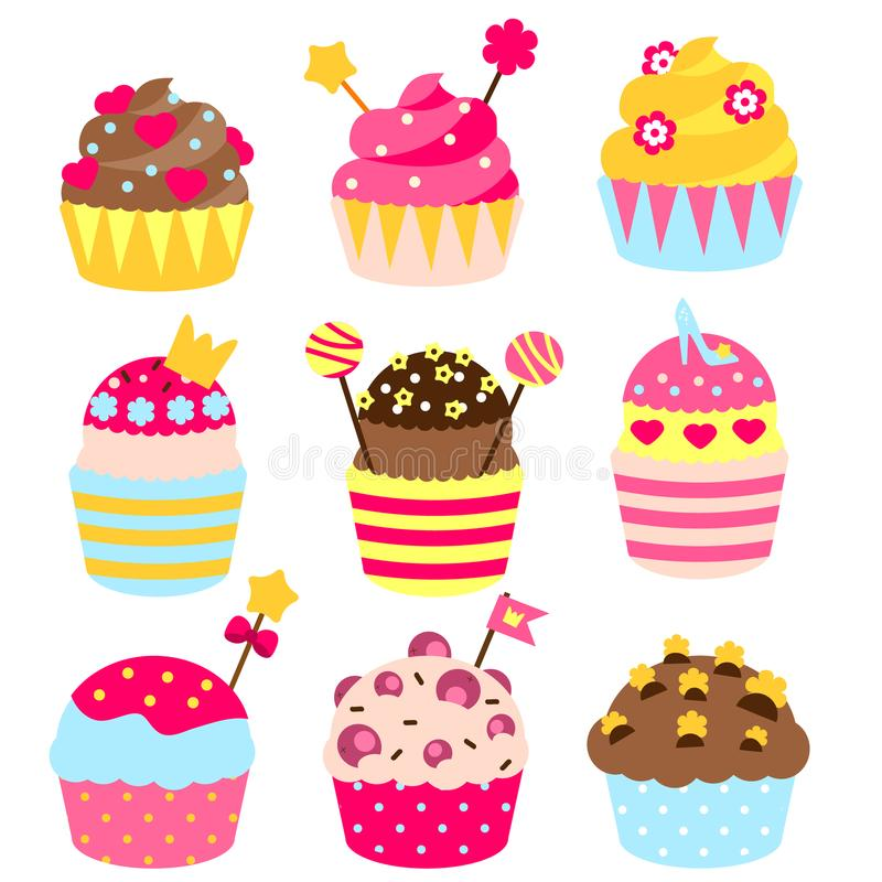 Princess cupcakes decorated with crown, hearts, candies, sweets. Bakery in pink, yellow colors. Birthday Party pastry food for gir. Princess cupcakes decorated stock illustration