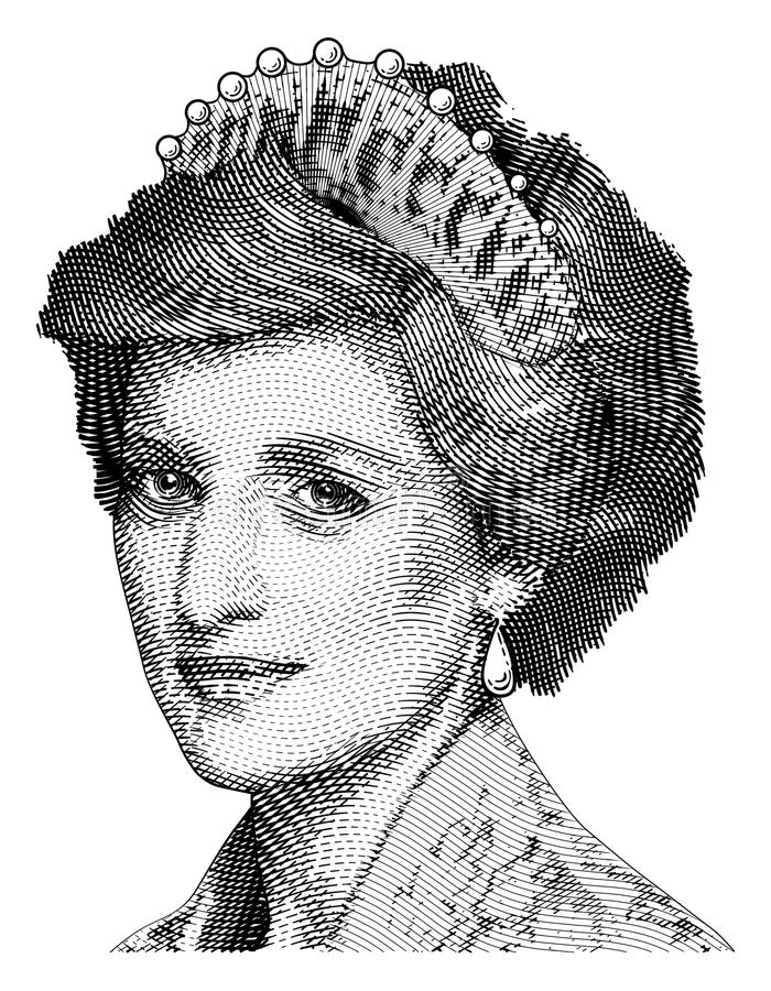 Princess Diana vector engraving stock illustration
