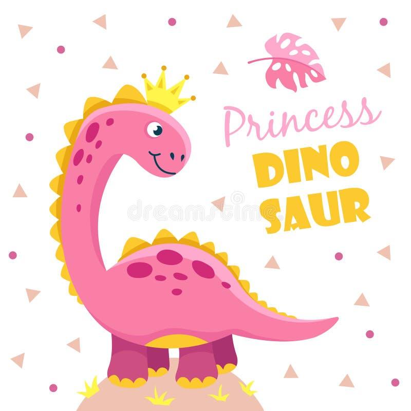 Princess dinosaur Śliczny różowy dziewczyny Dino dziecko Dziecko prysznic motywacji projekta chłodno śmieszny wektor żartuje plak royalty ilustracja