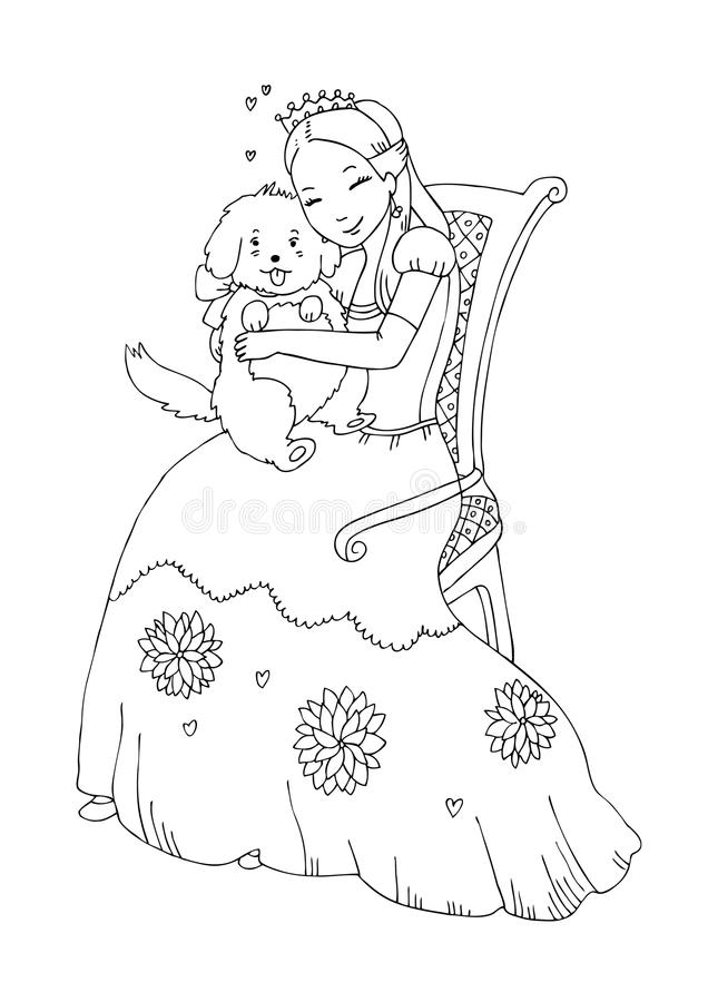 Download Princess With Dog Coloring Page Stock Illustration - Image: 9550355