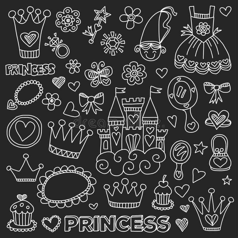 Princess Doodle icons For baby shower, toy shop vector illustration