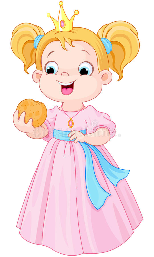Princess eats hamburger stock illustration