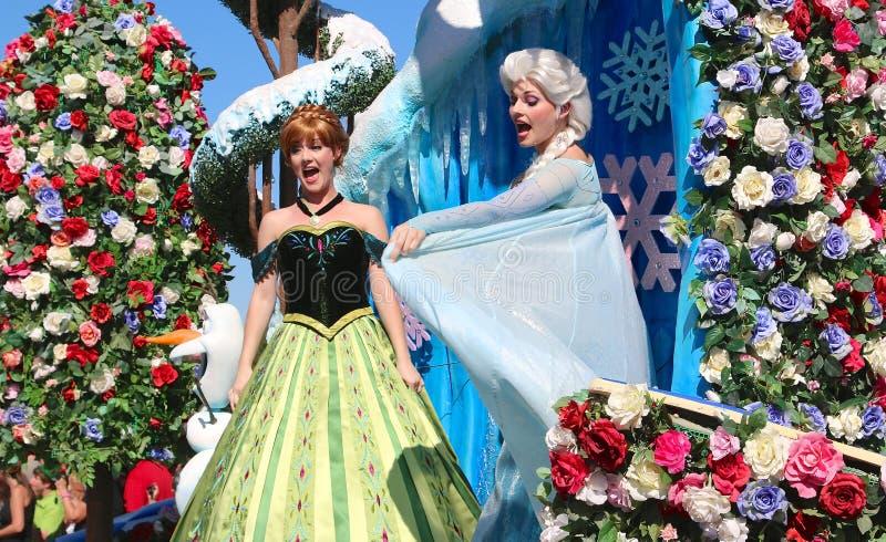 Princess Elsa and Ana at Disneyworld. Princess Elsa and Ana at Disney's Magic Kingdom stock photo