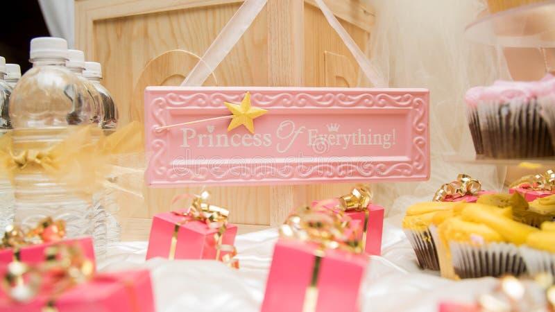 Princess Of Everything Baby Shower. Princess of Everything Treat Table For Baby Shower stock photo