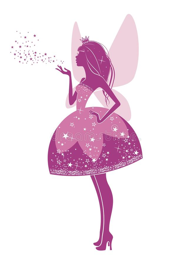 Princess fairy. Silhouette of a beautiful princess isolated on a white background