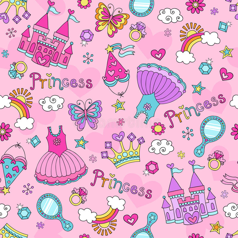 Free Princess Fairy Tale Doodles Seamless Pattern Vecto Royalty Free Stock Photography - 28768337