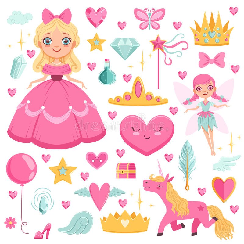 Princess with fairytale unicorn, wizard and their magic elements. Vector pictures set vector illustration