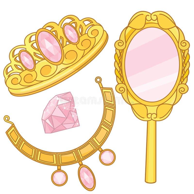 Princess Accessories Set Fantasy Elements. Princess Fantasy Elements Jewelry Gold Box Princess Fantasy Fairy Tale Elements and Pink Accessories royalty free illustration
