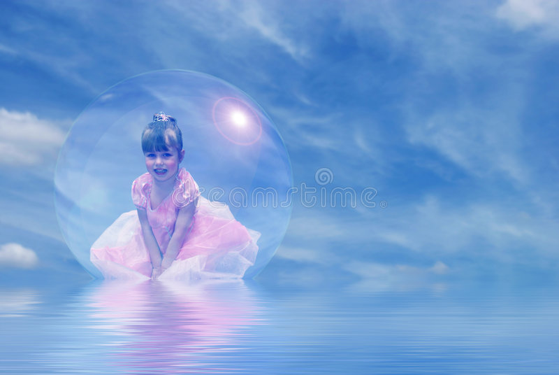 Princess Floating in Bubble. Smiling toddler girl dressed as princess floating in a bubble stock images