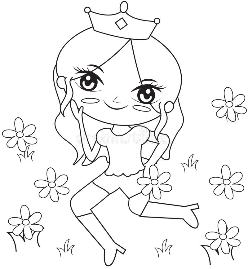 Princess In The Flower Garden Coloring Page Stock Illustration ...