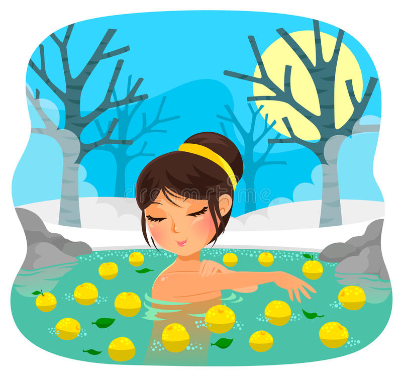 Princess in the forest. Girl taking a bath with yuzu citrus fruit (tradition on the Japanese holiday of winter solstice royalty free illustration