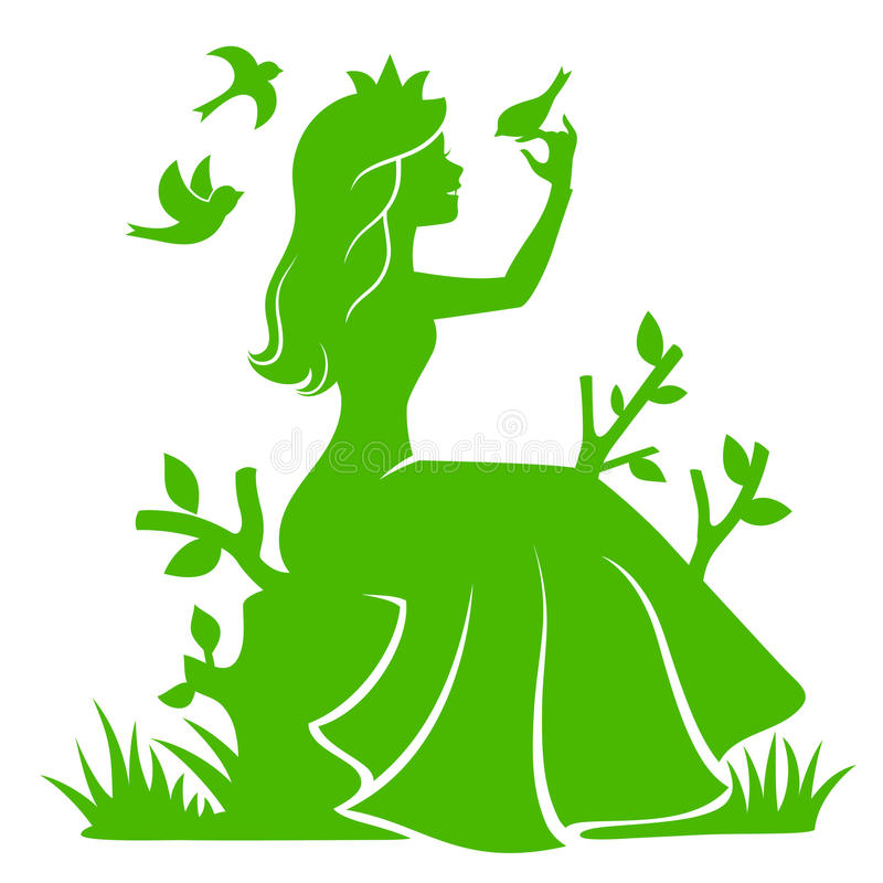 Princess in the forest. Silhouette of a princess sitting in the forest and playing with the birds vector illustration