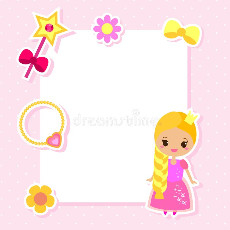 Princess frame design template for photos, children diplomas, kids certificate, invitations, scrapbook and etc vector illustration