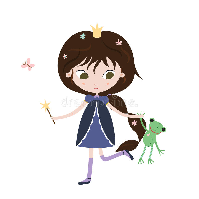 Princess and frog. Cute little princess with frog toy in her hands. vector illustration