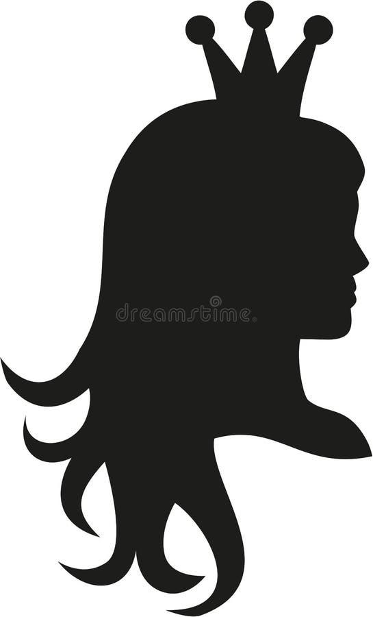 Princess głowa z korony sylwetką royalty ilustracja