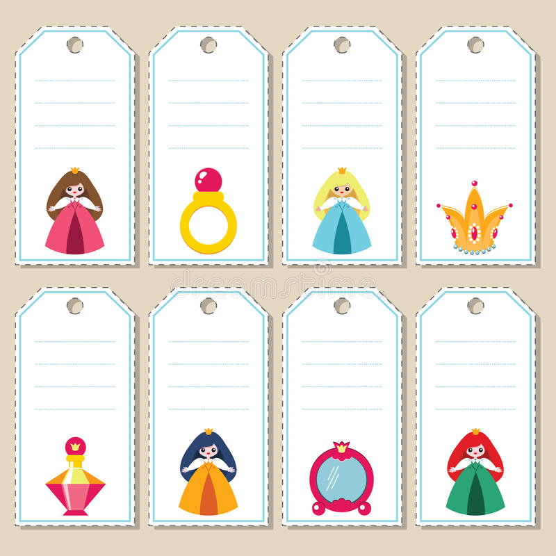 Download Princess gift tags stock vector. Image of crown, decoration - 36881645