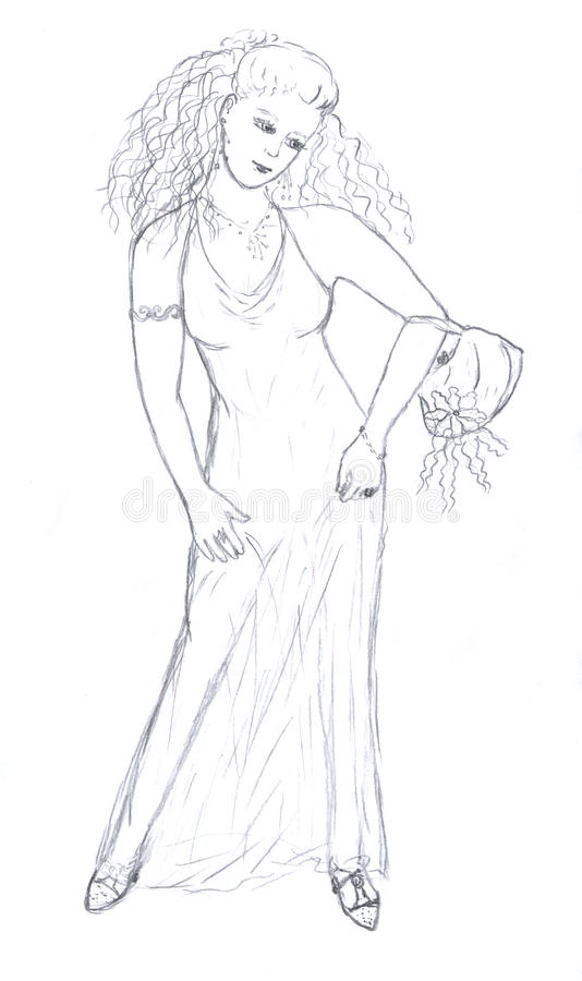 Princess girl drawing vector illustration