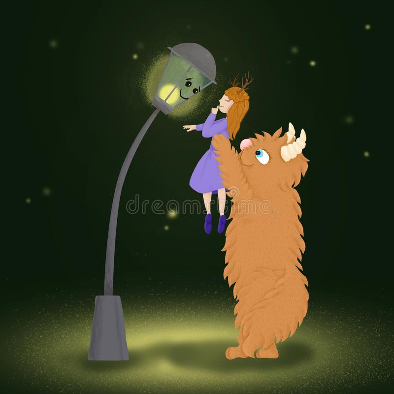 Princess girl keeps the secret that told her an old street lamp. royalty free stock photos