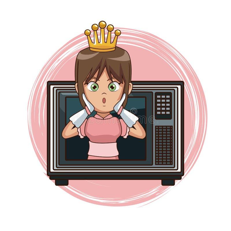 Princess gra wideo charakteru kreskówka na tv ilustracji