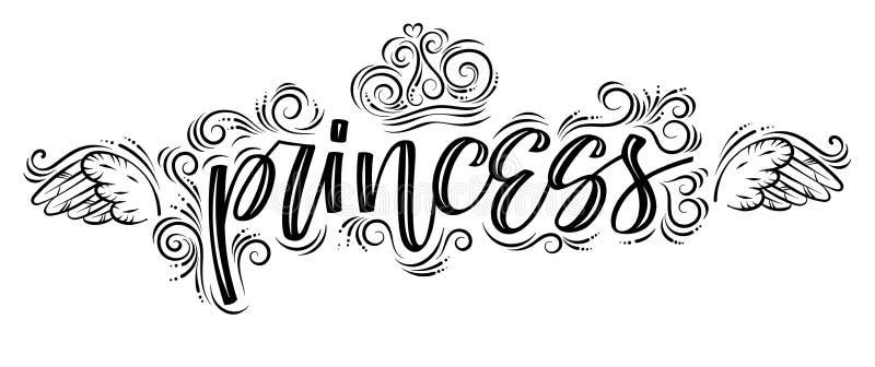 Princess. Hand drawn creative modern calligraphy black-n-white vector illustration