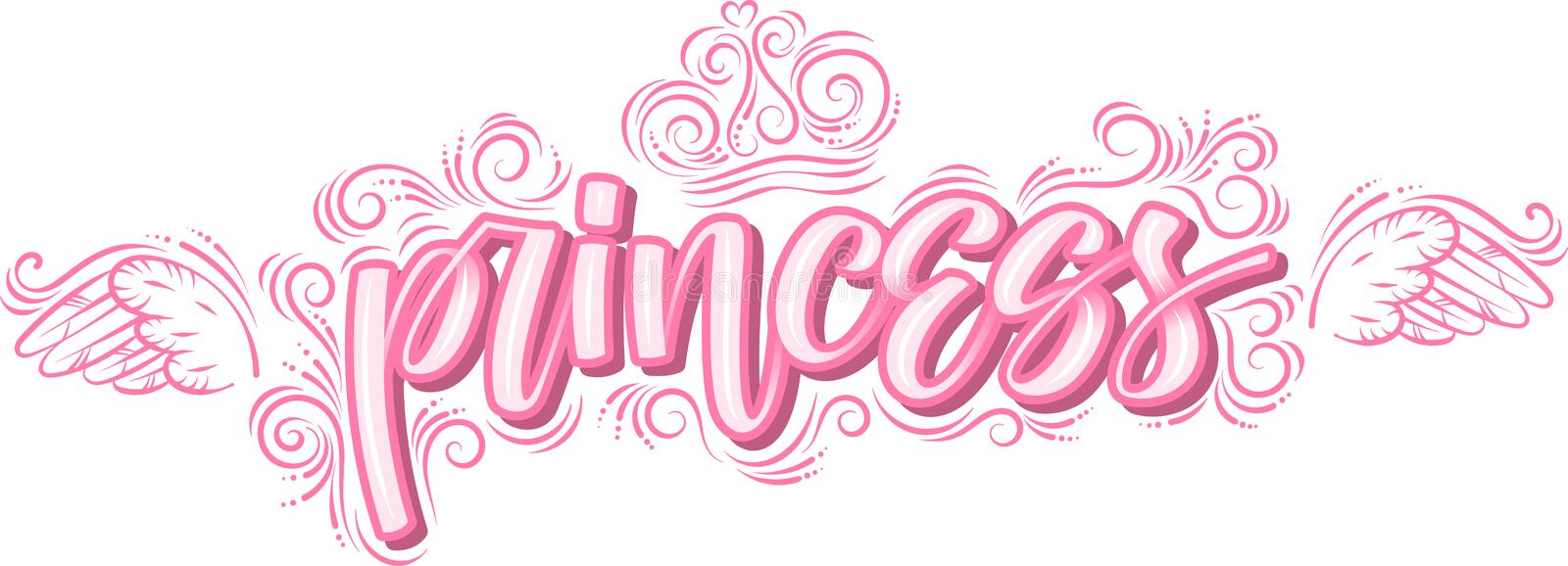 Princess. Hand drawn creative modern calligraphy in pink stock illustration