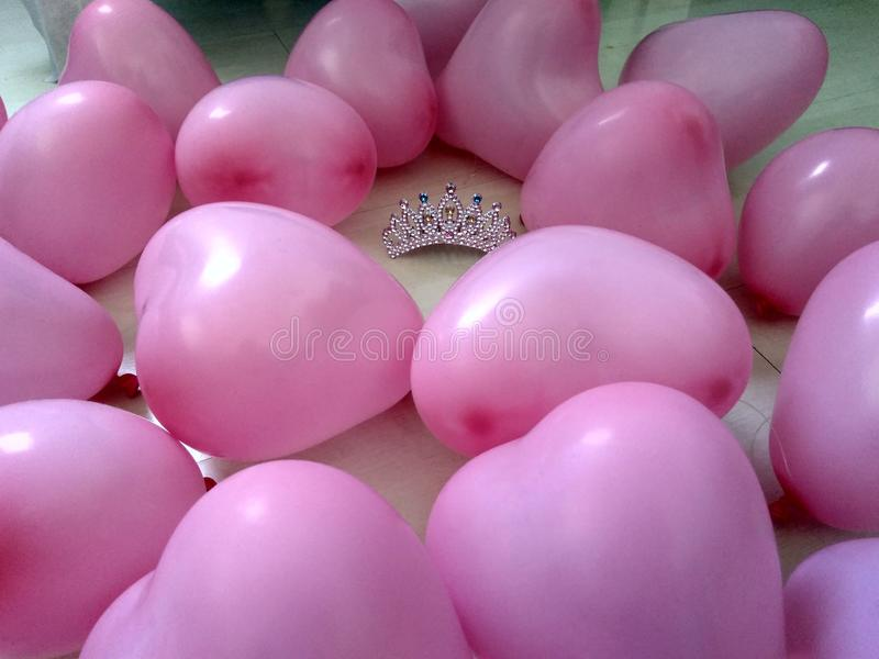 Princess heart balloons stock photo