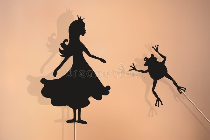 Princess i żaby cienia kukły ilustracja wektor