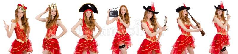 Princess jest ubranym koronę i czerwieni suknię odizolowywających na bielu obrazy royalty free
