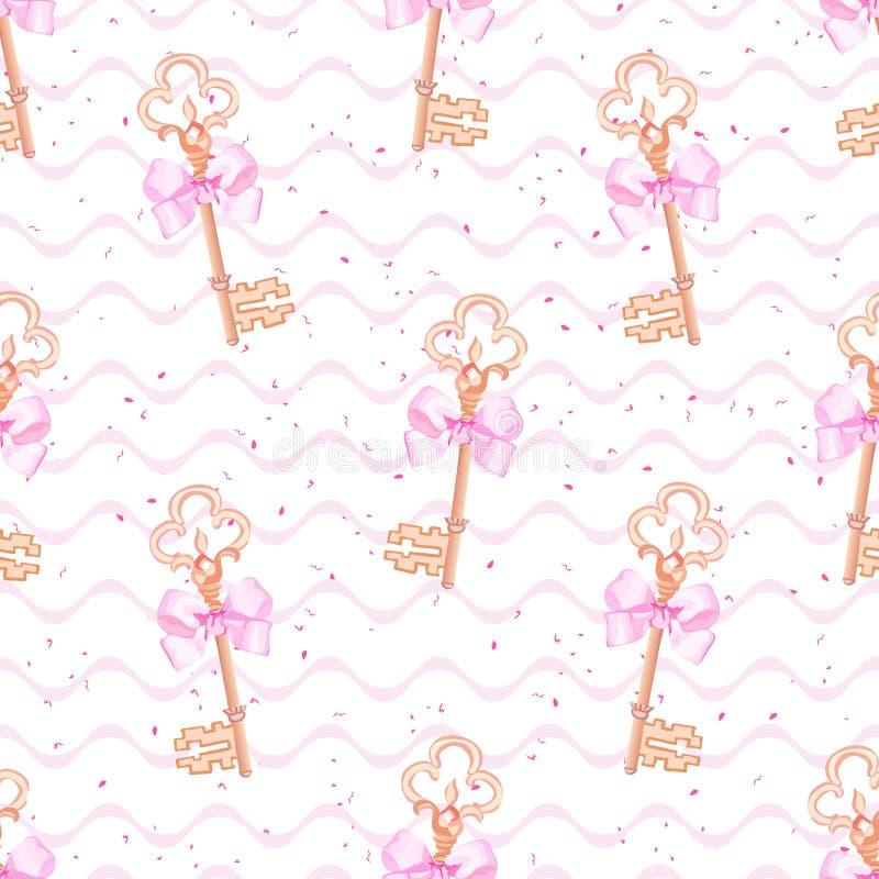 Princess keys on wave background seamless vector print vector illustration