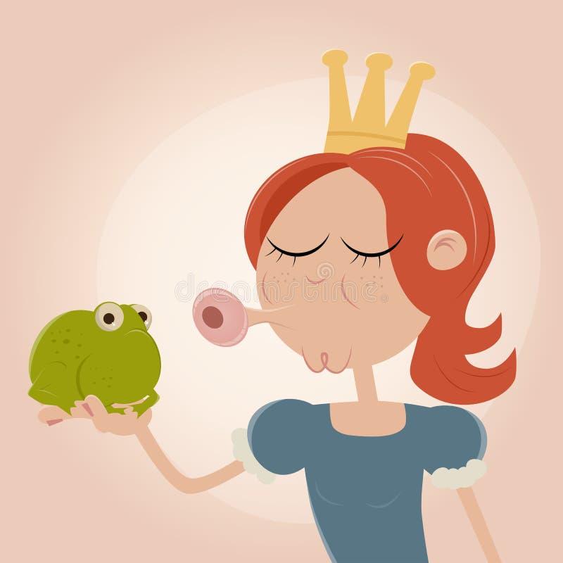 Princess kissing a frog. Funny illustration of a princess kissing a frog stock illustration