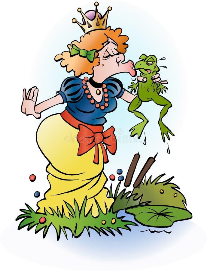 A princess kissing a frog. Vector cartoon illustration of a princess kissing a frog stock illustration