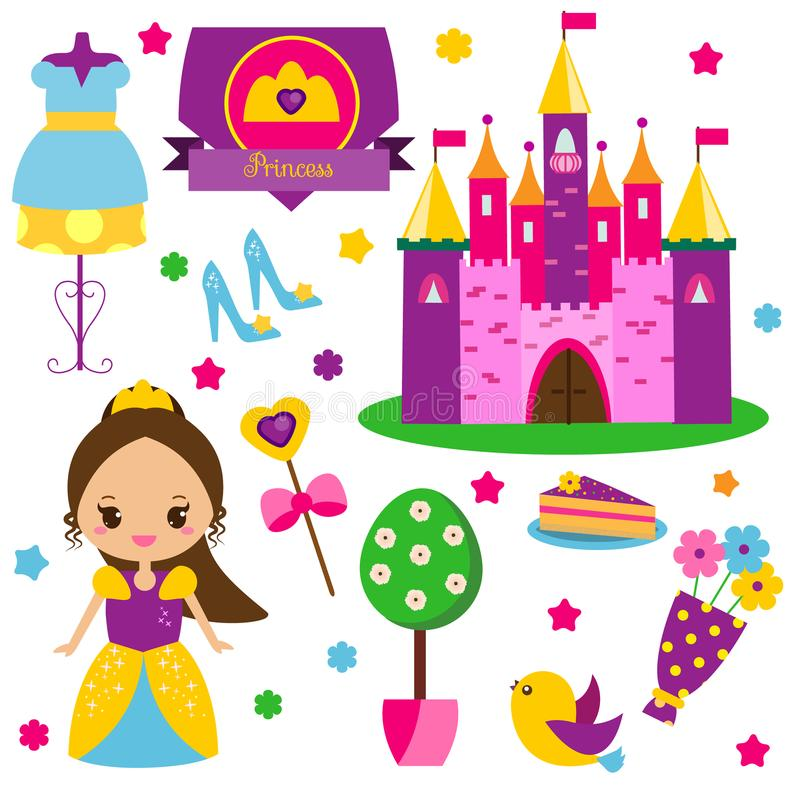 Princess kit. Stickers, clip art for girls. Castle, dress, shoes and other fairy symbols for kids games and cards royalty free illustration