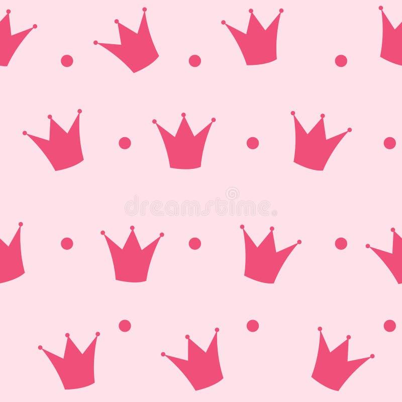 Princess korona tła Bezszwowy Deseniowy wektor royalty ilustracja