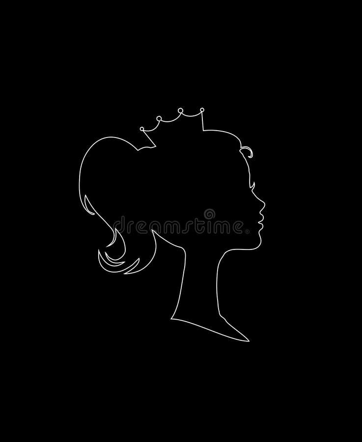 Princess lub królowej Profilowa sylwetka z koroną ilustracji