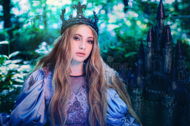 Princess in magic forest royalty free stock photography