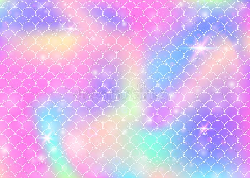 Princess mermaid background with kawaii rainbow scales pattern. stock illustration