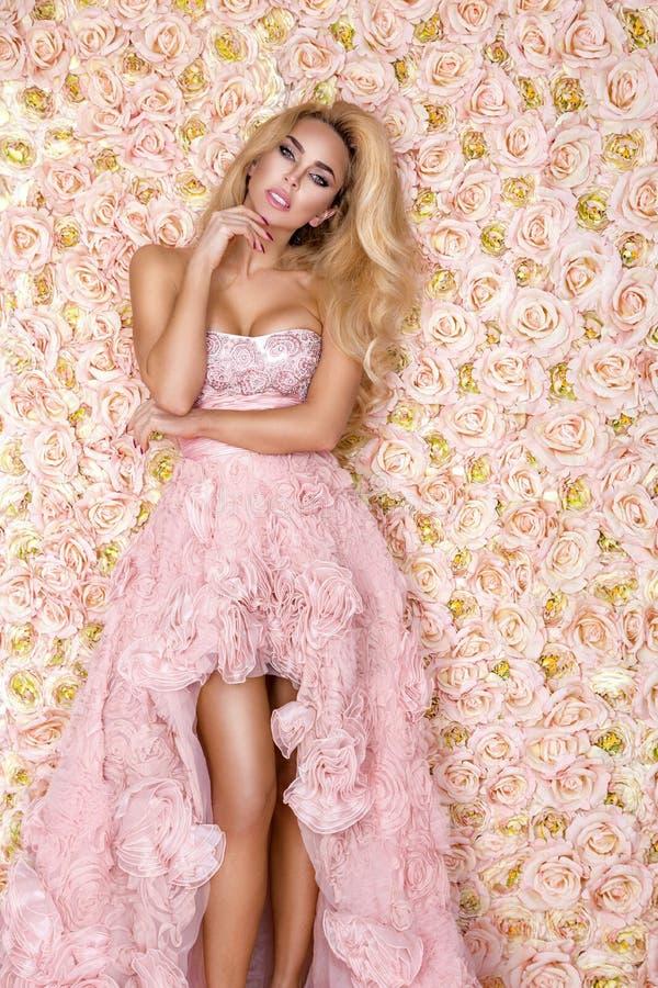 Princess, panna m?oda w r??owej ?lubnej sukni Pi?kna m?oda kobieta - wizerunek zdjęcie stock