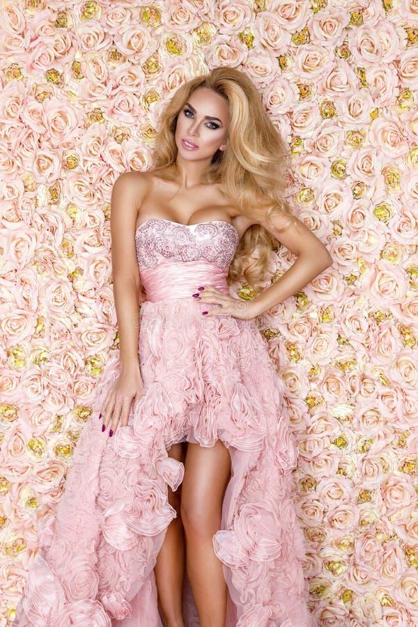 Princess, panna m?oda w r??owej ?lubnej sukni Pi?kna m?oda kobieta - wizerunek obrazy stock
